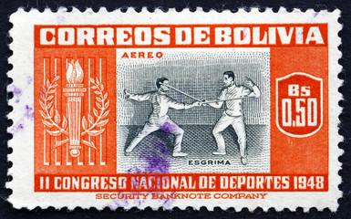 Postage stamp Bolivia 1951 Fencing