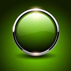 Shiny button green, glossy metallic