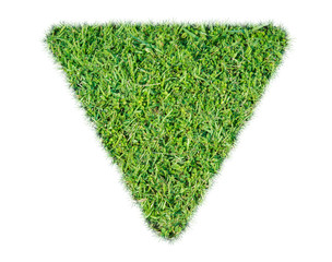 Green grass ecological triangle rendered icon