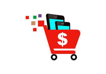 mobile phone shopping cart vector