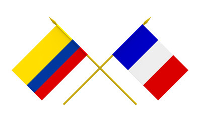 Flags, France and Colombia