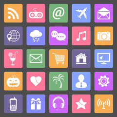 Set of social media icons, flat design vector