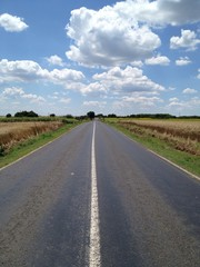 In the middle of an empty road