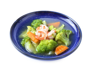 Thai healthy food boiled  broccoli with shrimp