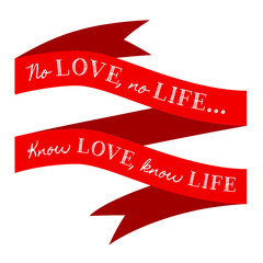 KNOW LOVE KNOW LIFE Banner (ribbon valentine romance)