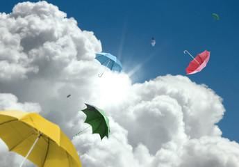 Fototapeta latające kolorowe parasolki