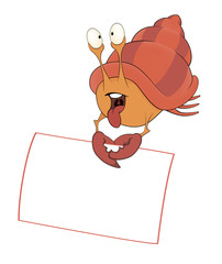 Crab with the empty blank cartoon