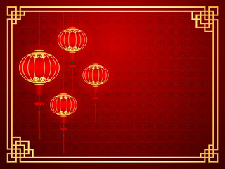 Chinese traditional template with red lanterns on Seamless Patte