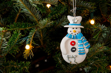 Blue Scarf Snowman Ornament
