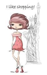Мультфильм модные девушки в США, фон