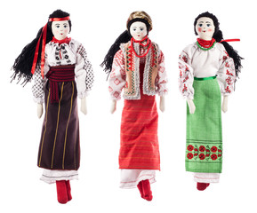 Ukrainian rag dolls isolated on white background