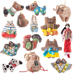 Collections of Ukrainian rag toy isolated on white