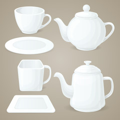 White crockery set