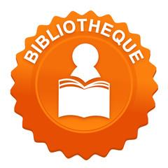 bibliothèque sur bouton web denté orange