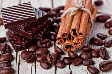 chocolate sweets, cinnamon and coffee beans