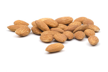 Multiple Almonds on White Background