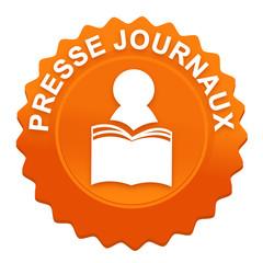 presse journaux sur bouton web denté orange