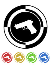 Pistol button mosaic retro colors