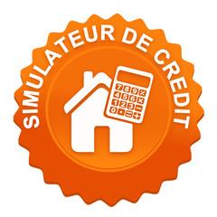 simulateur de crédit sur bouton web denté orange