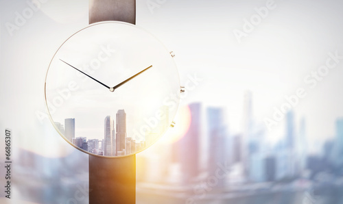 Double exposure of watch and megalopolis - 66865307
