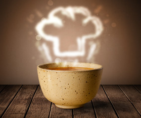 Bowl of soup with chef cook hat steam illustration