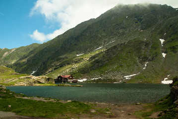 Glacial Balea Lake on Transfagarasan. Carpathians Mountains