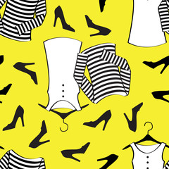 Yellow clothes seamless pattern
