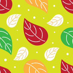Colorful leaves nature seamless pattern