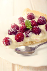 Slice of raspberries tart