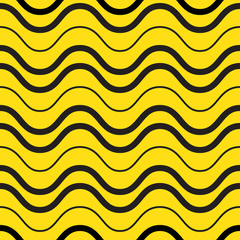 Retro yellow waves seamless pattern