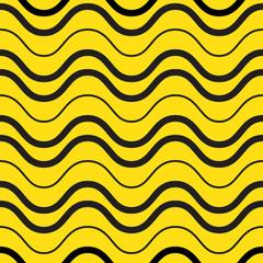 Retro yellow waves seamless pattern