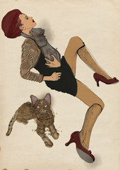 Digital Painting: Posing woman and Cats
