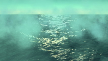 Ocean waves and fog