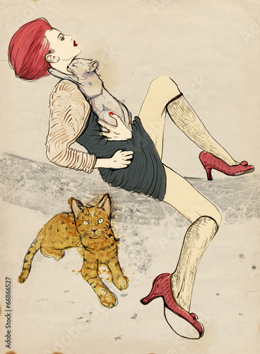 Digital Painting: Posing woman and two cats - 66866527