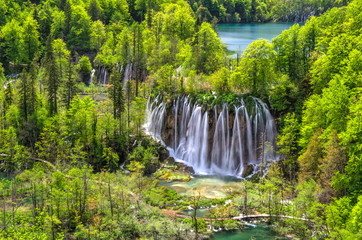 Waterfalls at Plitvice Lakes National park in Spring