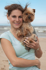 woman with yorkie