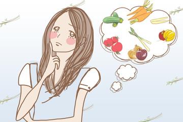 食生活について考える女性