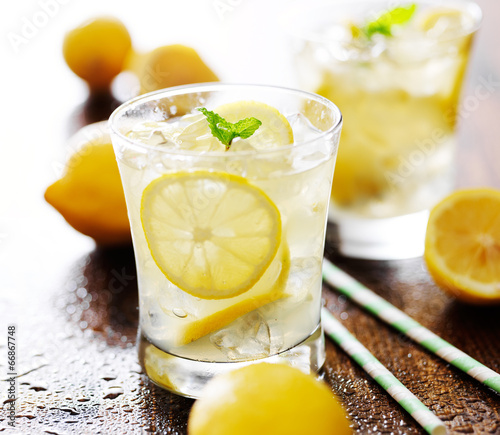 lemonade in a glass with mint garnish
