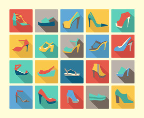 Flat icons set of fashion Footwear