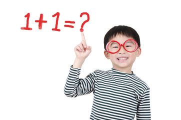 Smart cute boy thinking math question