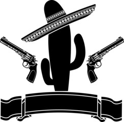 The mexican cactus and two pistols