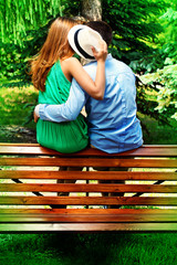 kiss on bench