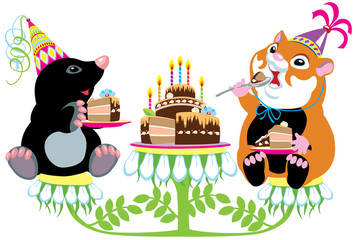 mole and hamster eating birthday cake