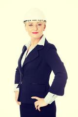Happy mature engineer woman.