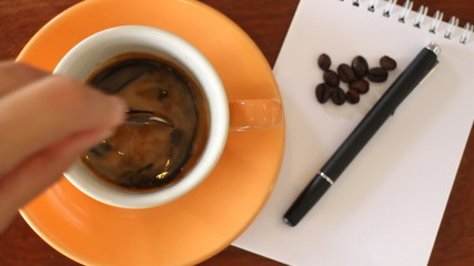 Fresh Cup Of Espresso With Notepaper On The Table, Stock Video