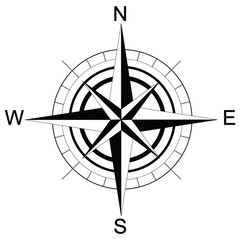 black and white compass. Raster