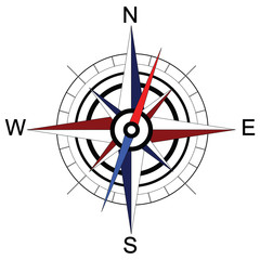 Colorful compass arrow. Raster