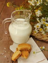 Milk in jug and bread