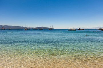 Yacht at anchor in a beautiful bay near Bodrum, Turkey