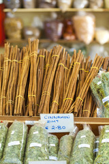 Cinnamon sticks in a spice shop in Kos, Greece, Europe